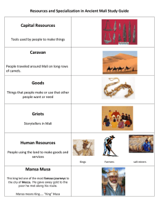 Capital Resources Caravan Goods Resources and Specialization in Ancient Mali Study Guide