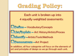 Each unit is broken up into 4 equally weighted assessments: Vocabulary/Concepts Art History/Artists/Process