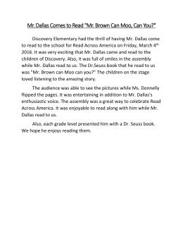 Mr. Dallas Comes To Read U0026#34;Mr. Brown Can Moo,