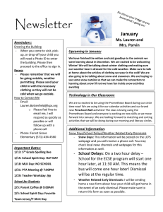 Newsletter  January Ms. Lauren and