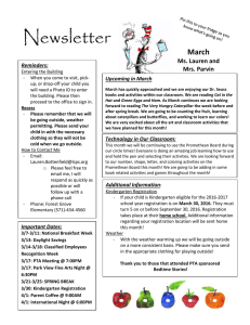 Newsletter  March Ms. Lauren and