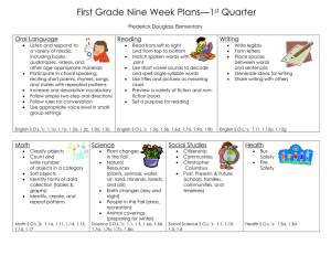 First Grade Nine Week Plans—1 Quarter  st