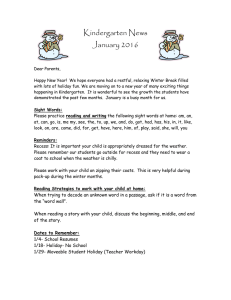 Kindergarten News January 2016