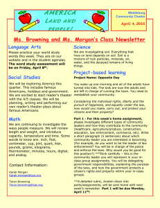 AMERICA L ! Ms. Browning and Ms. Morgan's Class Newsletter