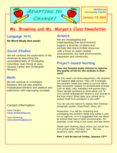 A C ! Ms. Browning and Ms. Morgan's Class Newsletter