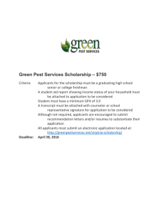 – $750 Green Pest Services Scholarship