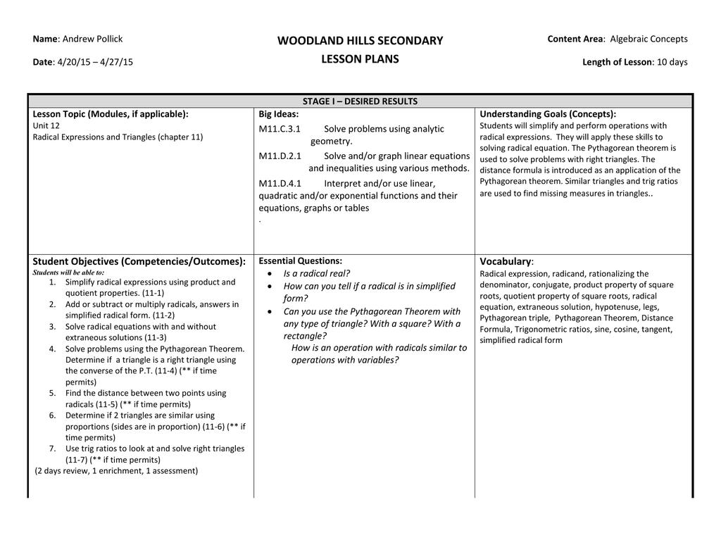 Woodland Hills Secondary Lesson Plans