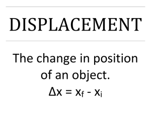 DISPLACEMENT The change in position of an object. ∆x = x