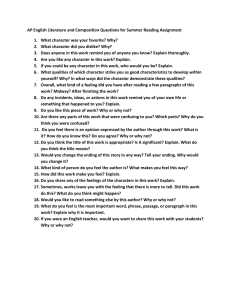 AP English Literature and Composition Questions for Summer Reading Assignment