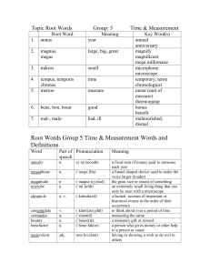Topic Root Words  Group: 5 Time & Measurement