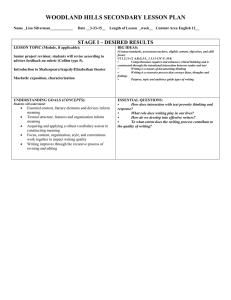 WOODLAND HILLS SECONDARY LESSON PLAN