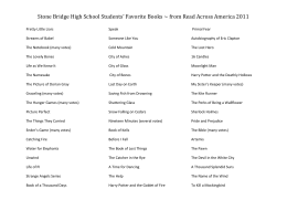 Stone Bridge High School Students' Favorite Books ~ from Read...