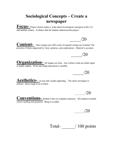 Sociological Concepts – Create a newspaper Focus-
