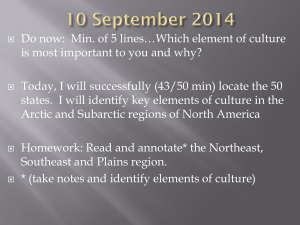 Do now:  Min. of 5 lines…Which element of culture