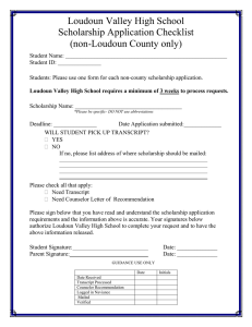Loudoun Valley High School Scholarship Application Checklist (non-Loudoun County only)