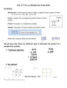 SOL 4.4 Test on Multiplication Study Guide Vocabulary