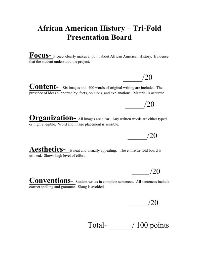 African American History – Tri-Fold Presentation Board Focus-