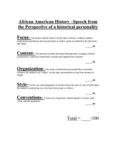 African American History –Speech from the Perspective of a historical personality Focus-