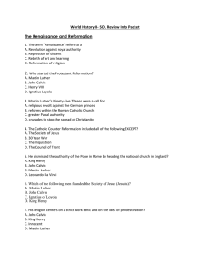 World History II- SOL Review Info Packet The Renaissance and Reformation