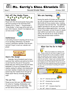 Ms. Carrig's Class Chronicle Second Grade News We are learning...