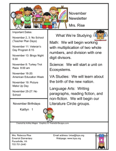 November Newsletter Mrs. Rise What We're Studying