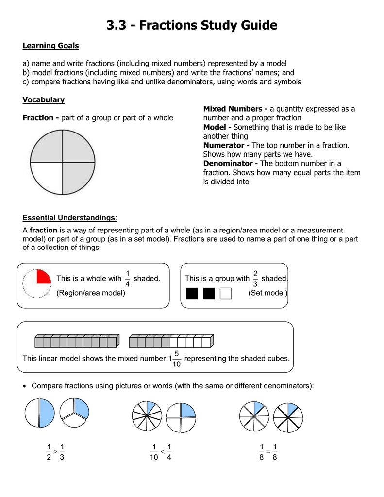 33 Fractions Study Guide
