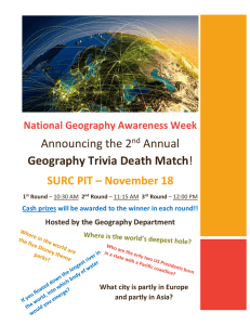 Announcing the 2 Annual Geography Trivia Death Match SURC PIT – November 18