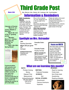 Third Grade Post Information & Reminders