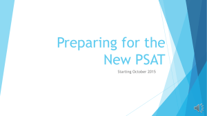Preparing for the New PSAT Starting October 2015