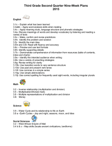 Third Grade Second Quarter Nine-Week Plans 2015