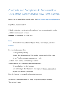 Contrasts and Complaints in Conversation: Uses of the Bookended Narrow-Pitch Pattern  Intro