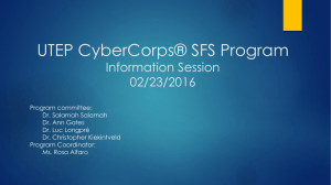 UTEP CyberCorps® SFS Program Information Session 02/23/2016