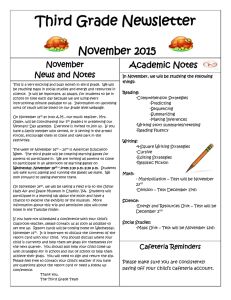 Third Grade Newsletter  November 2015