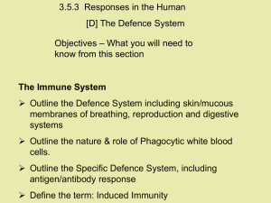 3.5.3  Responses in the Human [D] The Defence System Objectives