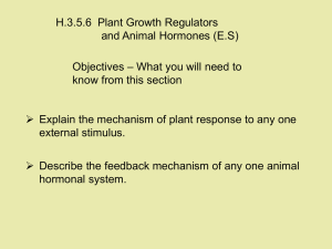 H.3.5.6  Plant Growth Regulators and Animal Hormones (E.S) Objectives