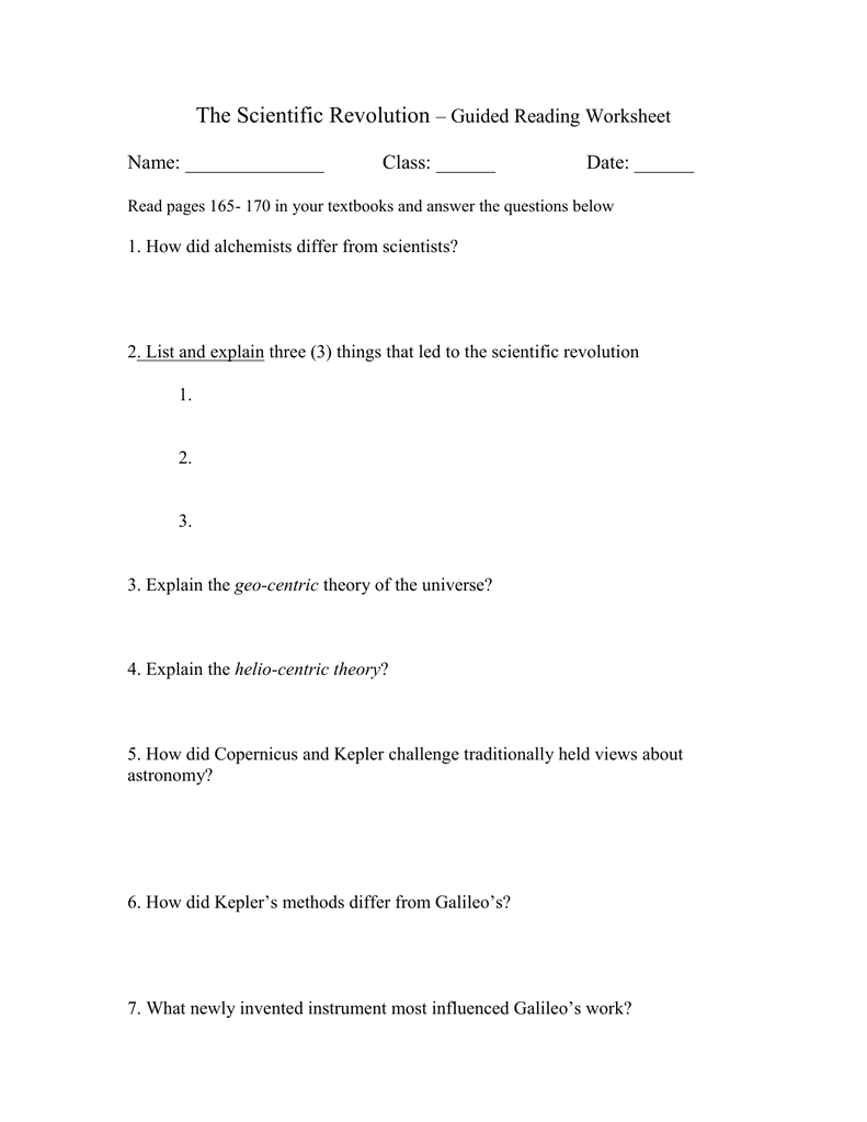 worksheet Scientific Revolution Worksheet the scientific revolution guided reading worksheet name