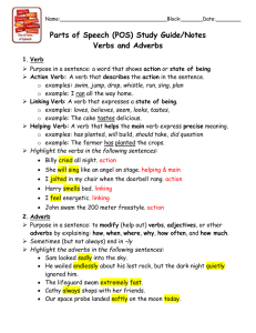 Parts of Speech (POS) Study Guide/Notes Verbs and Adverbs