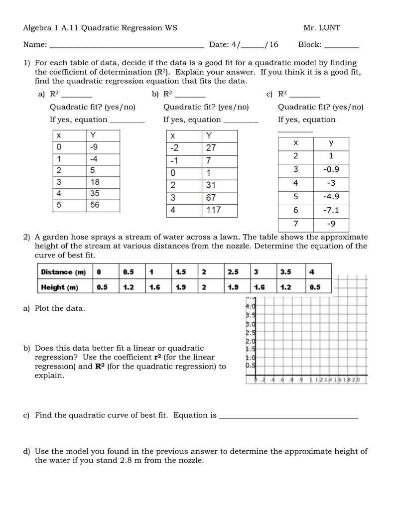 Worksheets Quadratic Regression Worksheet algebra 1 a 11 quadratic regression ws name date 4 16 name
