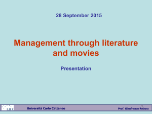 Management through literature and movies 28 September 2015 Presentation
