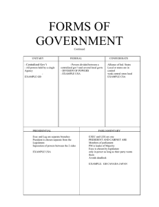 FORMS OF GOVERNMENT Centralized Gov't