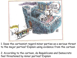 1. Does the cartoonist regard minor parties as a serious... to the major parties? Explain using evidence from the cartoon