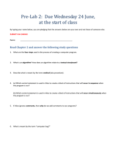 Pre-Lab 2:  Due Wednesday 24 June,
