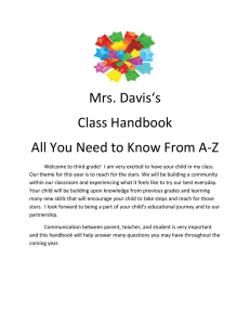 Mrs. Davis's Class Handbook All You Need to Know From A-Z
