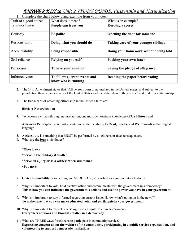 answer key to unit 2 study guide citizenship and naturalization rh studylib net 5 Study Guide Civics Credit Civics Study Guide Answers