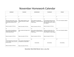November Homework Calendar  MONDAY TUESDAY