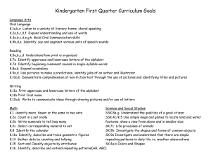 Kindergarten First Quarter Curriculum Goals