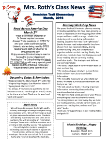 Reading Workshop News Read Across America Day March 2