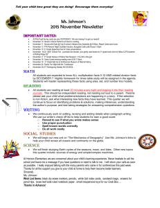 Ms. Johnson's 2015 November Newsletter Important dates: