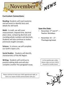 Curriculum Connections: Save the Date
