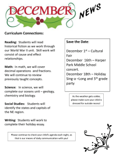 Curriculum Connections: Save the Date December 1 – Cultural